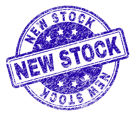 NEW STOCK stamp seal watermark with grunge style. Designed with rounded rectangles and circles. Blue vector rubber print of NEW STOCK title with grunge texture.