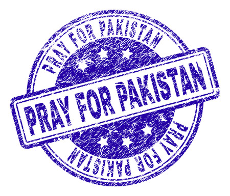 PRAY FOR PAKISTAN stamp seal watermark with distress texture. Designed with rounded rectangles and circles. Blue vector rubber print of PRAY FOR PAKISTAN caption with corroded texture. Illustration