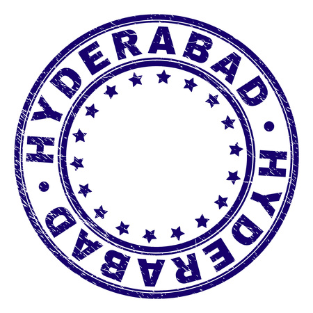 HYDERABAD stamp seal watermark with distress texture. Designed with round shapes and stars. Blue vector rubber print of HYDERABAD label with corroded texture.