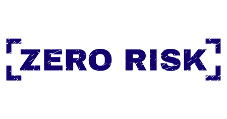 ZERO RISK tag seal print with distress texture. Text label is placed inside corners. Blue vector rubber print of ZERO RISK with grunge texture. Çizim