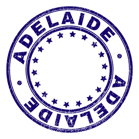 ADELAIDE stamp seal imprint with grunge style. Designed with round shapes and stars. Blue vector rubber print of ADELAIDE tag with grunge texture.
