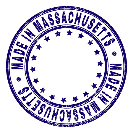 MADE IN MASSACHUSETTS stamp seal watermark with distress texture. Designed with round shapes and stars. Blue vector rubber print of MADE IN MASSACHUSETTS title with grunge texture.