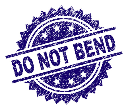 DO NOT BEND stamp seal watermark with distress style. Blue vector rubber print of DO NOT BEND text with corroded texture.