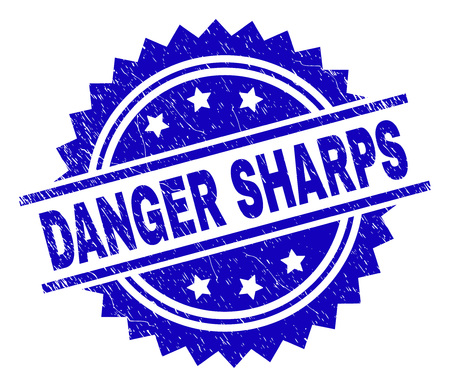 DANGER SHARPS stamp seal watermark with distress style. Blue vector rubber print of DANGER SHARPS tag with dust texture.