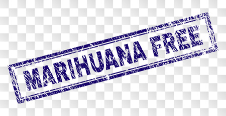 MARIHUANA FREE stamp seal print with grunge style and double framed rectangle shape. Stamp is placed on a transparent background.