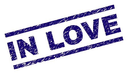 IN LOVE seal print with scratced style. Blue vector rubber print of IN LOVE caption with unclean texture. Text caption is placed between parallel lines.