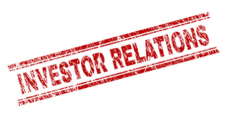 INVESTOR RELATIONS seal print with corroded texture. Red vector rubber print of INVESTOR RELATIONS caption with unclean texture. Text label is placed between double parallel lines.