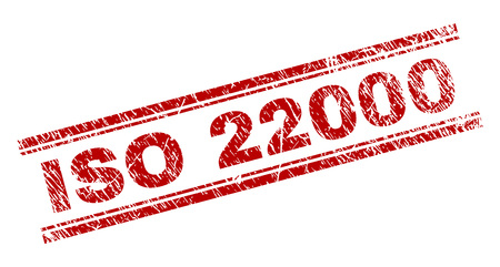 ISO 22000 seal print with grunge texture. Red vector rubber print of ISO 22000 caption with dust texture. Text label is placed between double parallel lines.