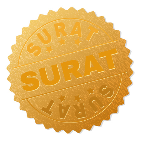 SURAT gold stamp seal. Vector golden award with SURAT text. Text labels are placed between parallel lines and on circle. Golden surface has metallic structure.