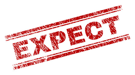EXPECT seal print with corroded texture. Red vector rubber print of EXPECT text with unclean texture. Text title is placed between double parallel lines. Illustration