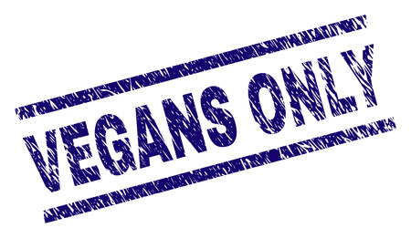 VEGANS ONLY seal print with grunge style. Blue vector rubber print of VEGANS ONLY tag with grunge texture. Text tag is placed between parallel lines.
