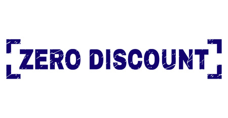 ZERO DISCOUNT text seal print with corroded effect. Text tag is placed inside corners. Blue vector rubber print of ZERO DISCOUNT with corroded texture.