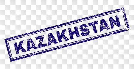 KAZAKHSTAN stamp seal watermark with rubber print style and double framed rectangle shape. Stamp is placed on a transparent background. Çizim