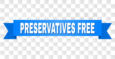 PRESERVATIVES FREE text on a ribbon. Designed with white title and blue stripe. Vector banner with PRESERVATIVES FREE tag on a transparent background.