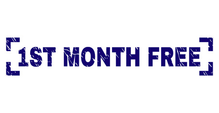 1ST MONTH FREE title seal watermark with corroded texture. Text title is placed between corners. Blue vector rubber print of 1ST MONTH FREE with dirty texture. Banque d'images - 127633590