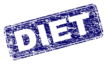 DIET stamp seal print with distress texture. Seal shape is a rounded rectangle with frame. Blue vector rubber print of DIET tag with corroded texture.