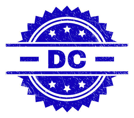 DC stamp seal watermark with distress style. Blue vector rubber print of DC caption with corroded texture. Illustration
