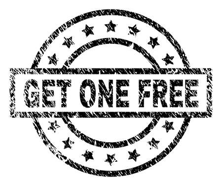 GET ONE FREE stamp seal watermark with distress style. Designed with rectangle, circles and stars. Black vector rubber print of GET ONE FREE title with scratched texture.