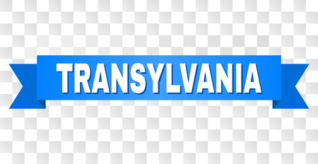 TRANSYLVANIA text on a ribbon. Designed with white caption and blue stripe. Vector banner with TRANSYLVANIA tag on a transparent background. Vettoriali