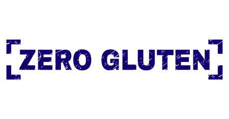 ZERO GLUTEN caption seal print with distress texture. Text label is placed between corners. Blue vector rubber print of ZERO GLUTEN with unclean texture.