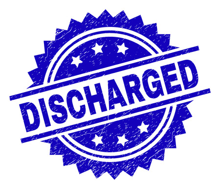 DISCHARGED stamp seal watermark with distress style. Blue vector rubber print of DISCHARGED label with retro texture.