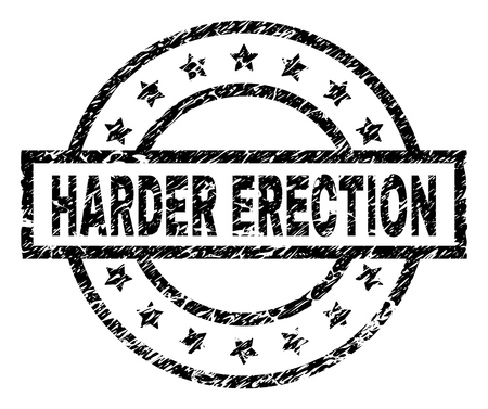 HARDER ERECTION stamp seal watermark with distress style. Designed with rectangle, circles and stars. Black vector rubber print of HARDER ERECTION title with dust texture.