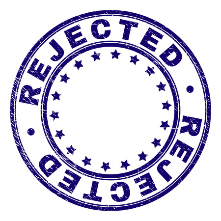 REJECTED stamp seal imprint with grunge texture. Designed with circles and stars. Blue vector rubber print of REJECTED caption with unclean texture.