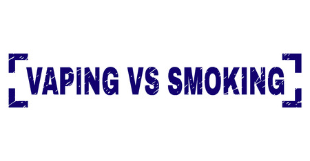 VAPING VS SMOKING caption seal stamp with corroded texture. Text caption is placed between corners. Blue vector rubber print of VAPING VS SMOKING with dust texture.