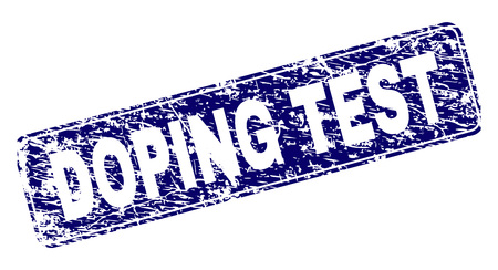 DOPING TEST stamp seal print with grunge texture. Seal shape is a rounded rectangle with frame. Blue vector rubber print of DOPING TEST caption with dust texture.