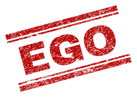 EGO seal print with distress texture. Red vector rubber print of EGO tag with grunge texture. Text title is placed between double parallel lines.