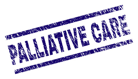 PALLIATIVE CARE seal print with scratced style. Blue vector rubber print of PALLIATIVE CARE label with dirty texture. Text label is placed between parallel lines. Illustration
