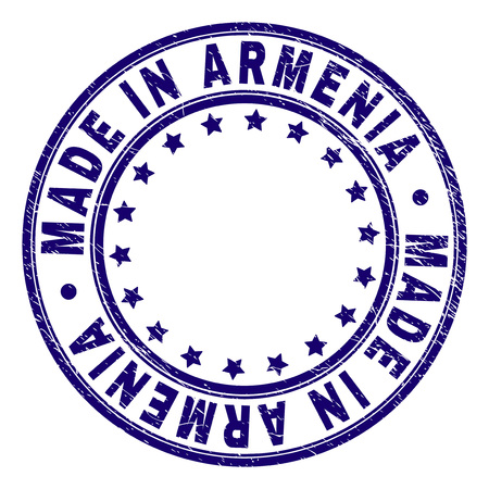 MADE IN ARMENIA stamp seal imprint with distress texture. Designed with circles and stars. Blue vector rubber print of MADE IN ARMENIA label with grunge texture. Векторная Иллюстрация