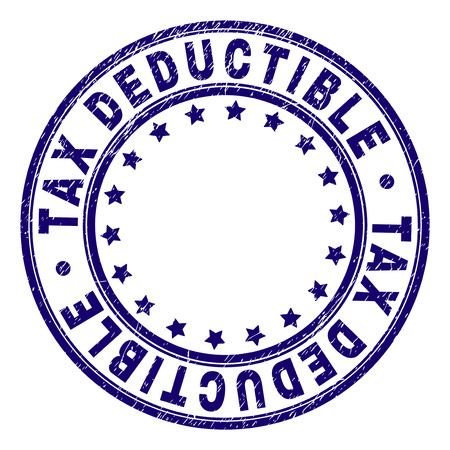 TAX DEDUCTIBLE stamp seal watermark with grunge texture. Designed with round shapes and stars. Blue vector rubber print of TAX DEDUCTIBLE caption with dirty texture. Иллюстрация