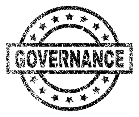 GOVERNANCE stamp seal watermark with distress style. Designed with rectangle, circles and stars. Black vector rubber print of GOVERNANCE text with retro texture.