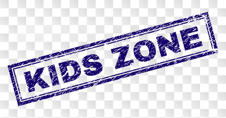 KIDS ZONE stamp seal print with scratched style and double framed rectangle shape. Stamp is placed on a transparent background. Blue vector rubber print of KIDS ZONE caption with scratched texture.