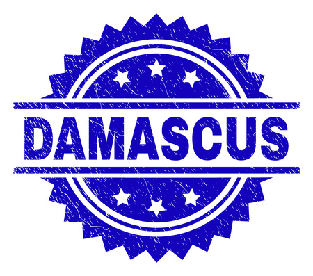 DAMASCUS stamp seal watermark with distress style. Blue vector rubber print of DAMASCUS label with dust texture. Reklamní fotografie - 127557307