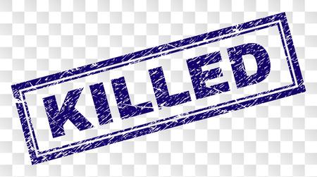 Impression de sceau de timbre KILLED avec un style d'impression en caoutchouc et une forme de rectangle à double cadre. Le timbre est placé sur un fond transparent. Impression en caoutchouc de vecteur bleu de l'étiquette KILLED avec texture de la poussière.
