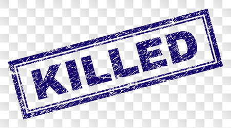 KILLED stamp seal print with rubber print style and double framed rectangle shape. Stamp is placed on a transparent background. Blue vector rubber print of KILLED tag with dust texture.