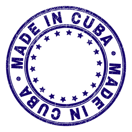 MADE IN CUBA stamp seal watermark with grunge texture. Designed with round shapes and stars. Blue vector rubber print of MADE IN CUBA label with grunge texture.