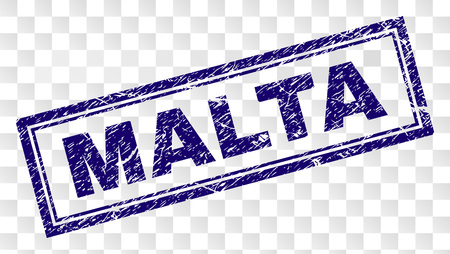 MALTA stamp seal print with rubber print style and double framed rectangle shape. Stamp is placed on a transparent background. Blue vector rubber print of MALTA title with grunge texture.