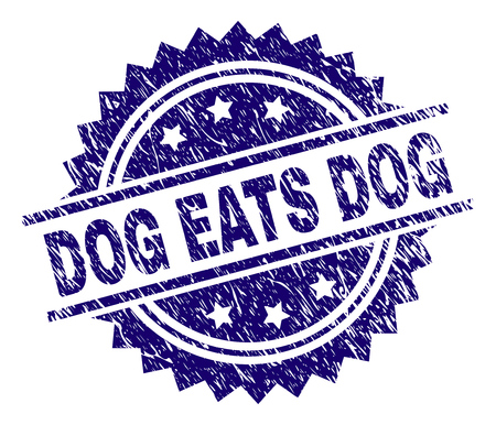 DOG EATS DOG stamp seal watermark with distress style. Blue vector rubber print of DOG EATS DOG tag with dirty texture.
