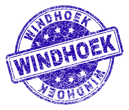 WINDHOEK stamp seal imprint with distress texture. Designed with rounded rectangles and circles. Blue vector rubber print of WINDHOEK label with unclean texture.