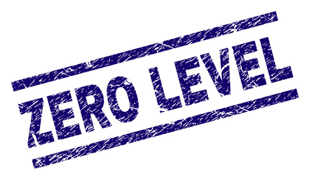 ZERO LEVEL seal print with grunge style. Blue vector rubber print of ZERO LEVEL caption with unclean texture. Text caption is placed between parallel lines.