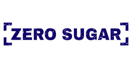 ZERO SUGAR text seal print with distress texture. Text title is placed between corners. Blue vector rubber print of ZERO SUGAR with retro texture. Ilustração