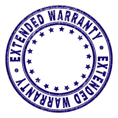 EXTENDED WARRANTY stamp seal watermark with distress style. Designed with round shapes and stars. Blue vector rubber print of EXTENDED WARRANTY text with retro texture.