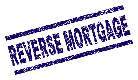 REVERSE MORTGAGE seal print with distress style. Blue vector rubber print of REVERSE MORTGAGE label with grunge texture. Text label is placed between parallel lines.