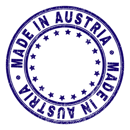 MADE IN AUSTRIA stamp seal watermark with grunge effect. Designed with round shapes and stars. Blue vector rubber print of MADE IN AUSTRIA title with grunge texture. Illustration