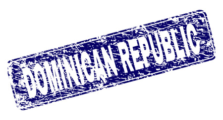 DOMINICAN REPUBLIC stamp seal print with distress style. Seal shape is a rounded rectangle with frame. Blue vector rubber print of DOMINICAN REPUBLIC title with dust style. 向量圖像