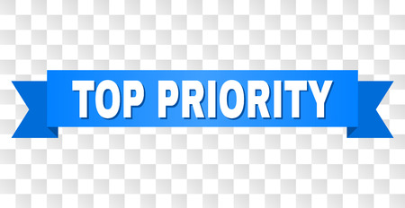 TOP PRIORITY text on a ribbon. Designed with white title and blue stripe. Vector banner with TOP PRIORITY tag on a transparent background.