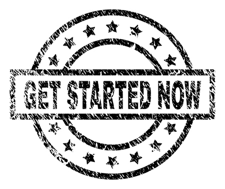 GET STARTED NOW stamp seal watermark with distress style. Designed with rectangle, circles and stars. Black vector rubber print of GET STARTED NOW text with scratched texture.